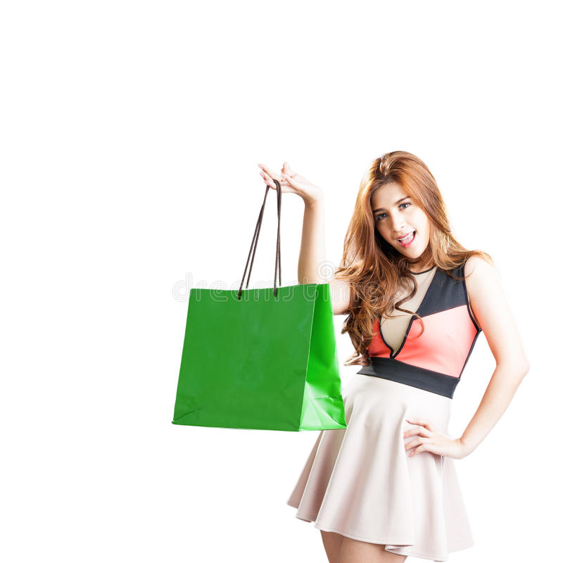 Shopping woman happy looking royalty free stock photo