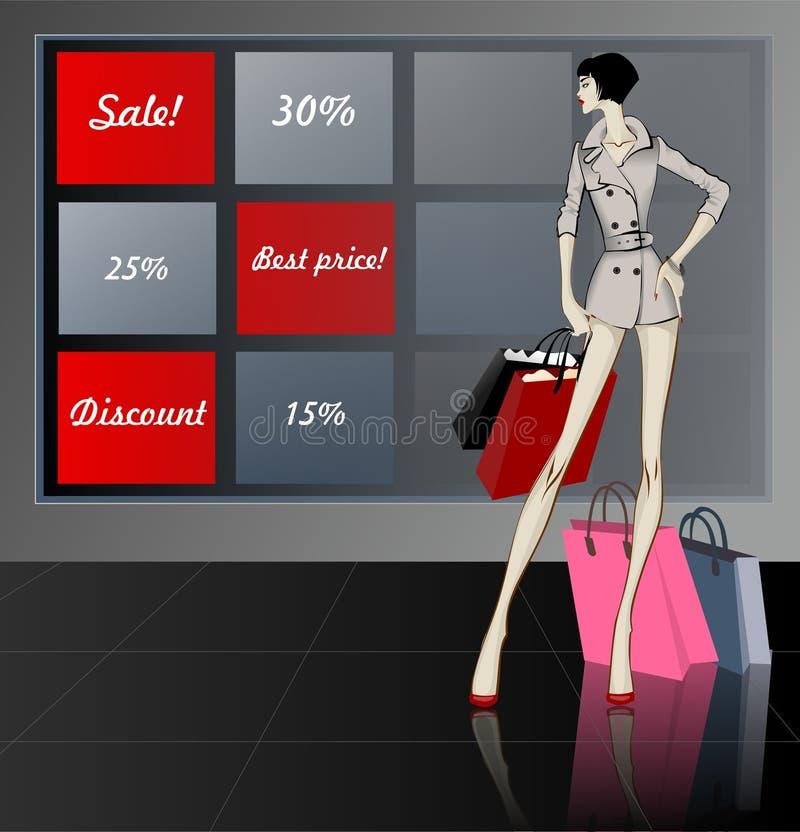 Shopping woman near the showcase sale concept vector illustration