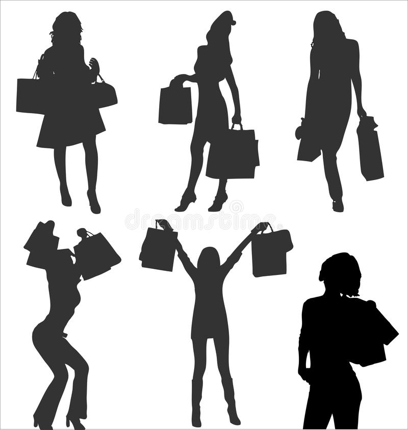 Free Shopping Woman Person Bag Silhouette Vector Fashion Girl Illustration Female Beauty Young Black Lady Adult Customer Model Shop Art Stock Photos - 9477063