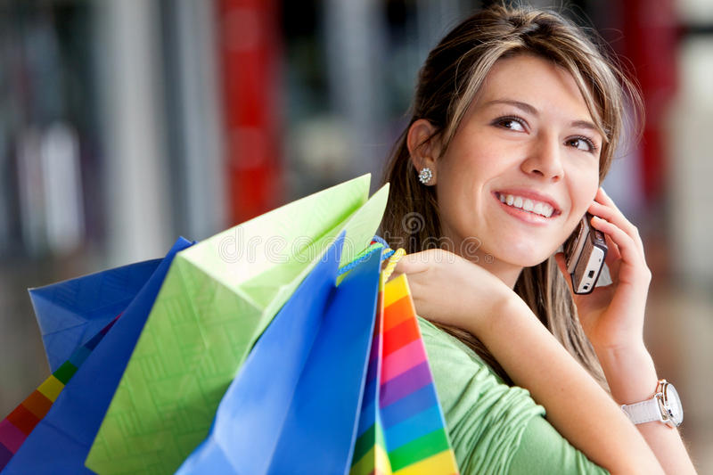 Download Shopping Woman On The Phone Stock Image - Image: 13296675