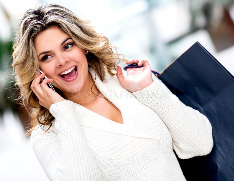 Download Shopping Woman On The Phone Stock Image - Image of buyer, cell: 25126927