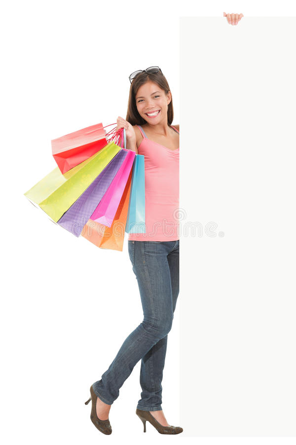 Shopping woman with sign stock photos