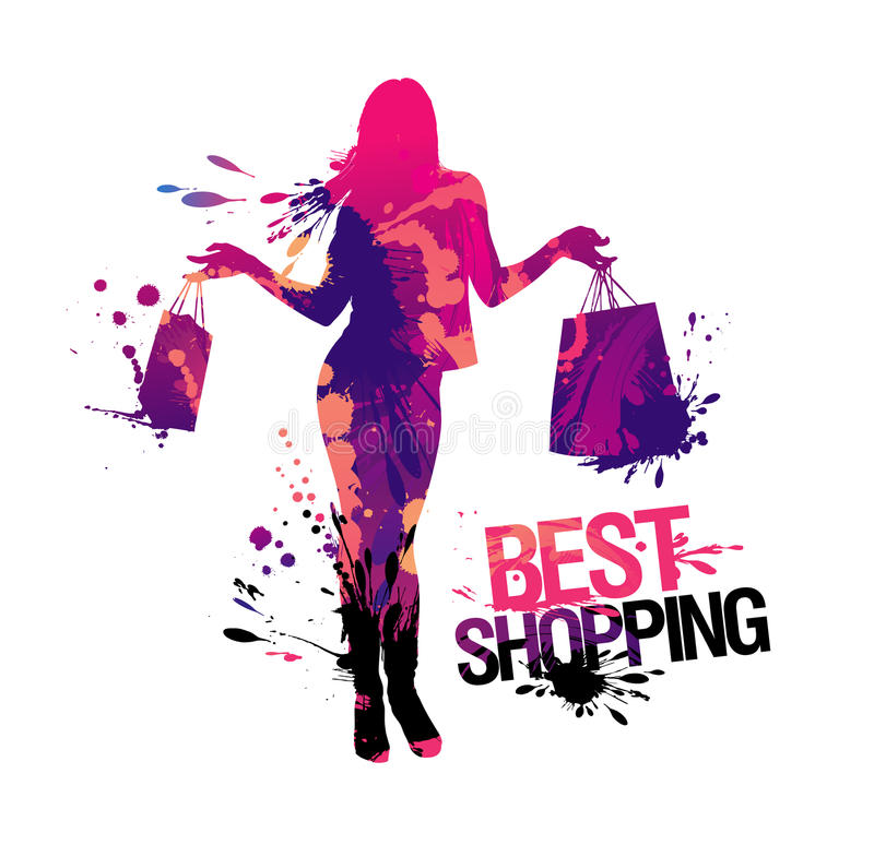 Free Shopping Woman Silhouette. Stock Image - 19775871