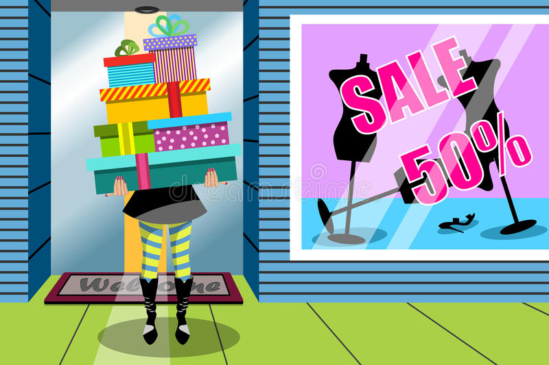 Shopping Woman Stack Gift Gifts Window Shop vector illustration