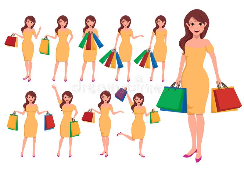 Shopping woman vector character set. Fashion girls cartoon characters royalty free illustration