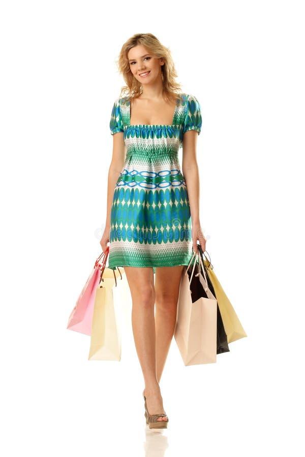 Shopping woman walking royalty free stock photos