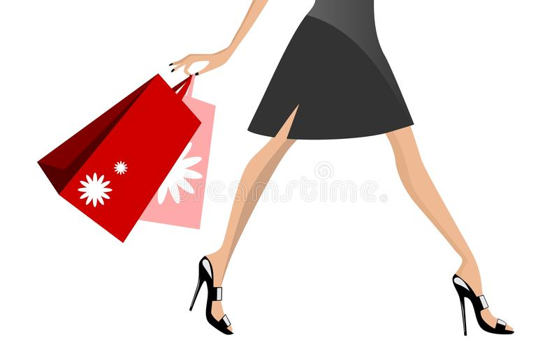Shopping Woman Walking royalty free illustration