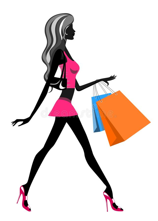 Shopping Woman Walking vector illustration