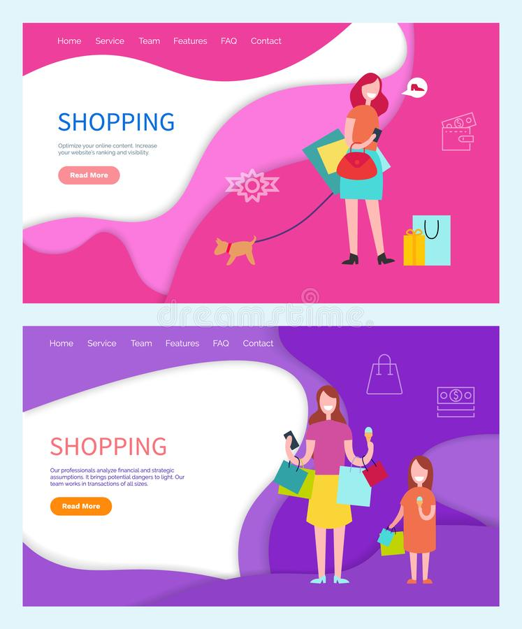 Shopping Woman Walking Pet on Leash, Family Day. Of mother and daughter vector. Shoppers spending time together on weekends, using discounts and sales. Website vector illustration