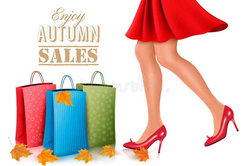 Shopping woman wearing red dress and high heel shoes royalty free illustration