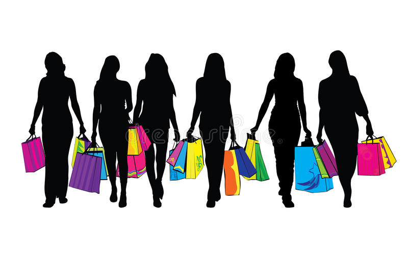 Download Shopping women stock vector. Image of body, group, person - 15567393