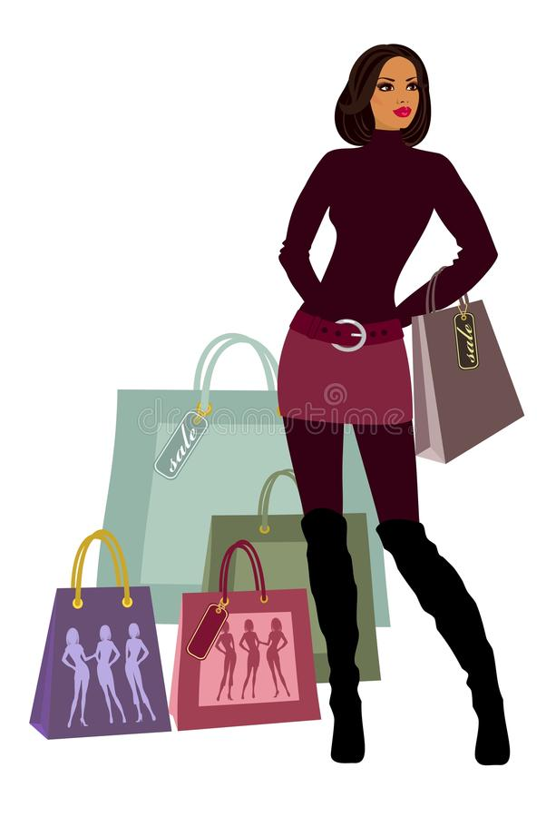 Download Shopping women stock vector. Image of elegance, price - 18999675