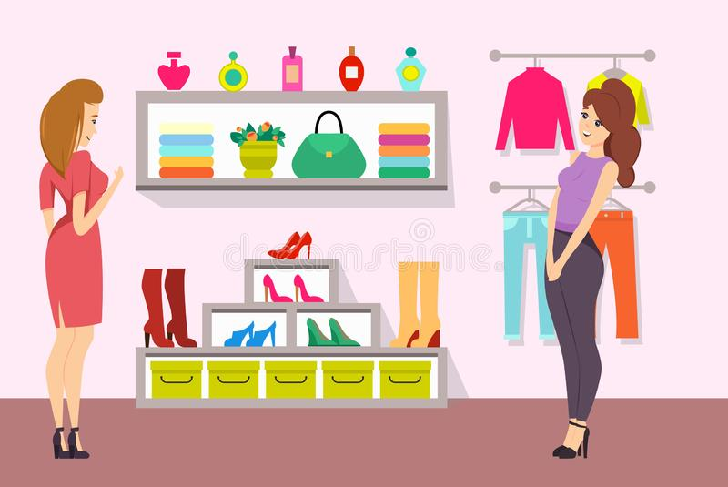 Shopping Women in Accessories Boutique Vector royalty free illustration