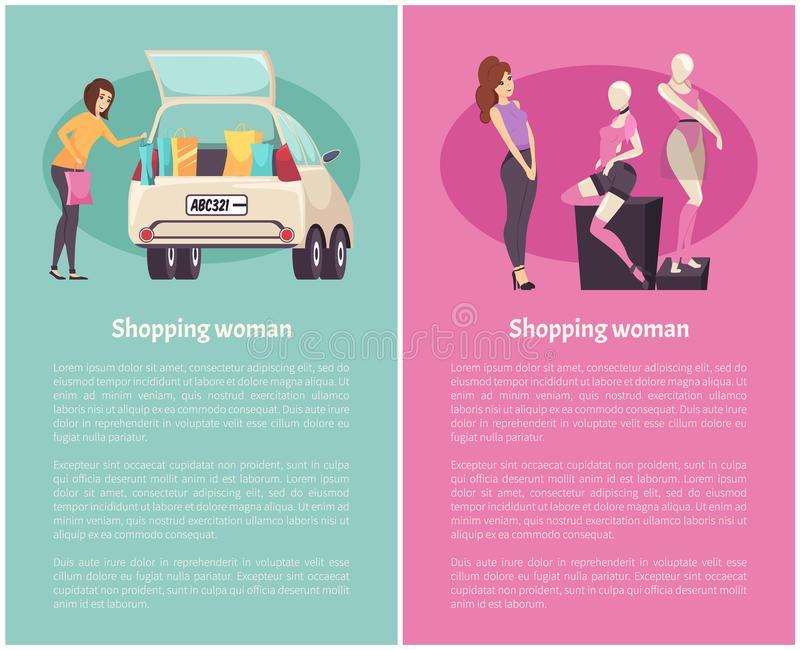 Shopping Women, Clothes Boutique in Mall Vector royalty free illustration