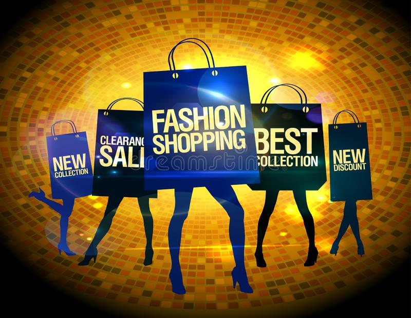 Shopping women silhouettes with paper shopping bags - fashion shopping, best collection, new discount, clearance sale, new vector illustration