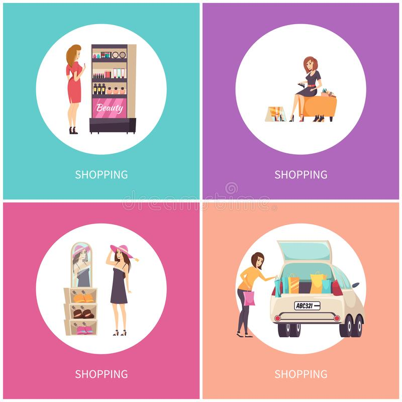 Shopping Women in Stores Shoes and Hats Vector royalty free illustration