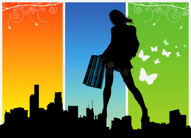 Download Shopping women vector 1 stock vector. Image of illustration - 4972930