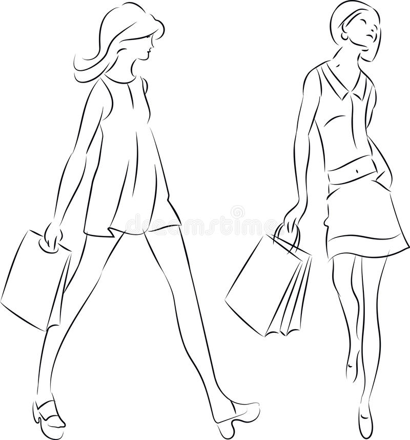 Line Drawing Jquery : Shopping women royalty free stock image
