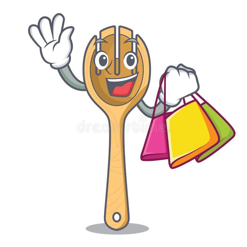 Shopping wooden fork character cartoon stock illustration
