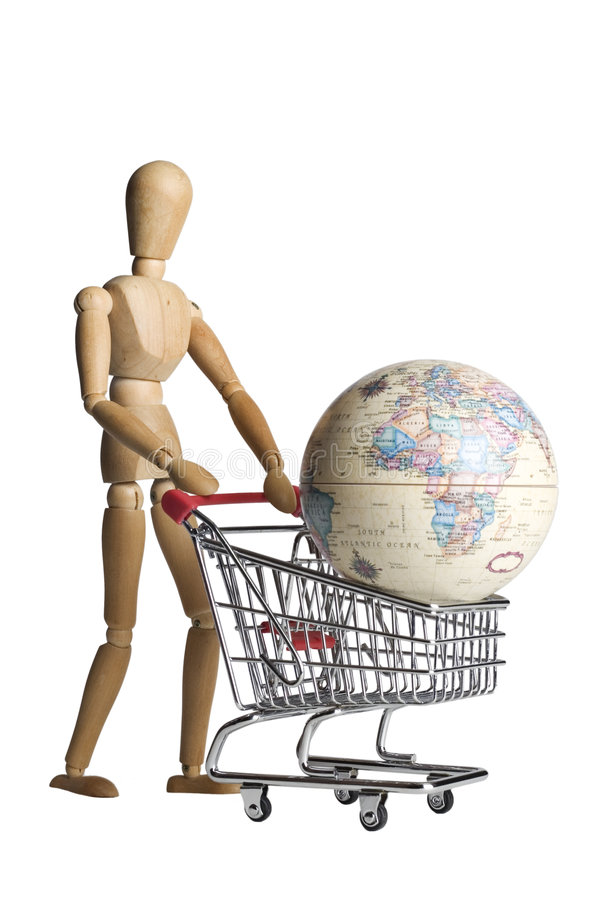 Shopping for the world. Mannequin pushing a shopping cart with an earth globe on white stock photos