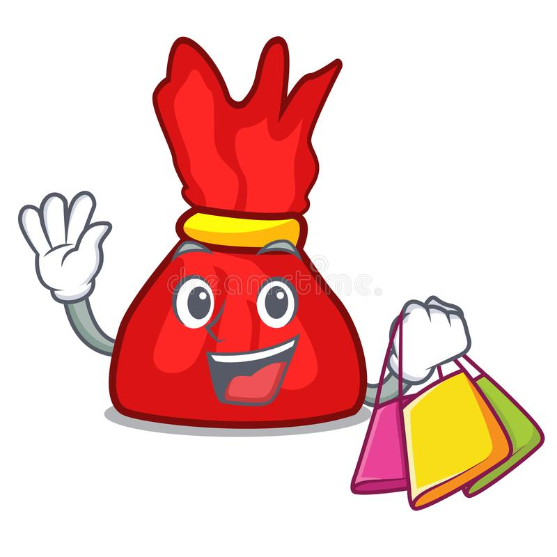 Shopping wrapper candy character cartoon stock illustration