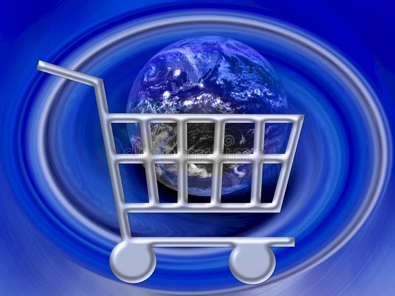 shopping www för internet för vagnskommers e stock illustrationer