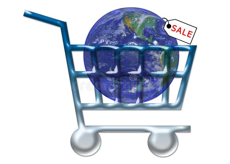 shopping www för vagnsinternetförsäljning vektor illustrationer