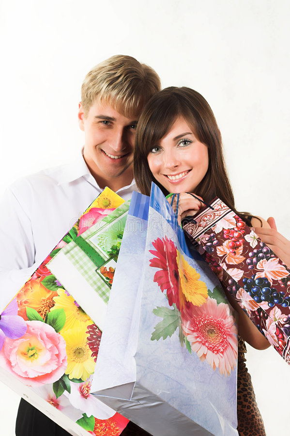 Shopping young couple stock photos
