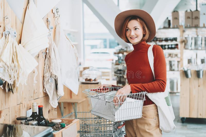 Shopping in zero waste store. Low waste lifestyle stock images