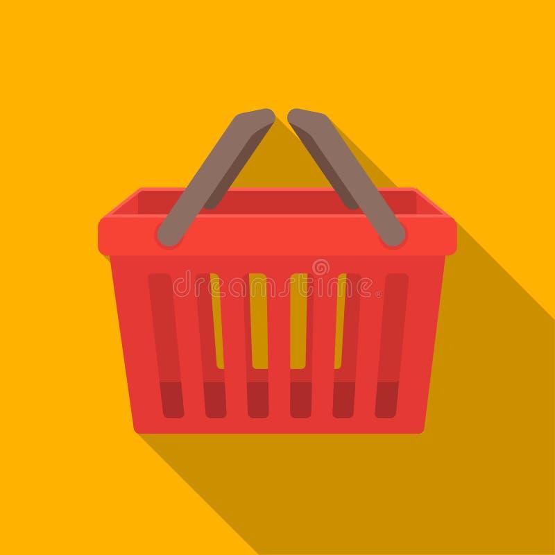 Shoppingbusketsymbol i plan stil som isoleras på vit bakgrund illustration för vektor för E-kommers symbolmateriel vektor illustrationer