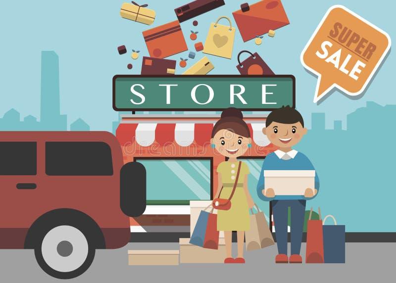 Shoppingdagbegrepp vektor illustrationer