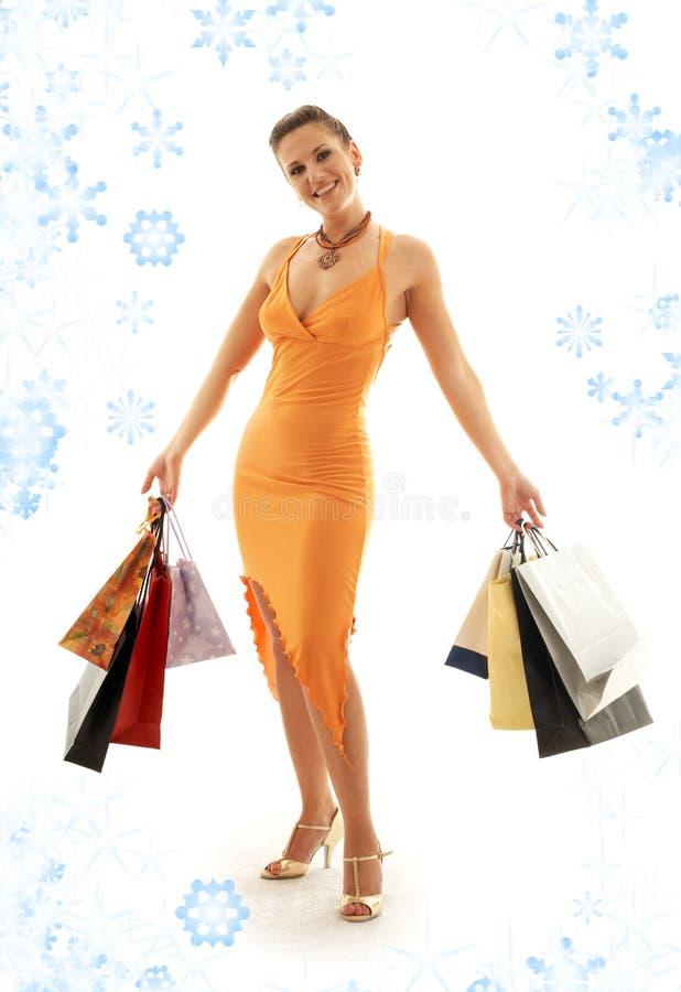 Shoppingeufori med snöflingor #2 royaltyfria foton
