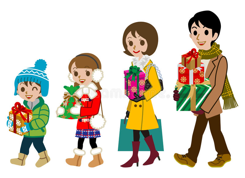 Shoppingfamilj, vinter som isoleras stock illustrationer
