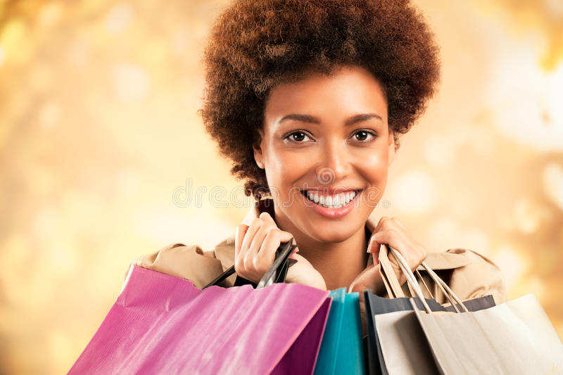 Shoppingflicka royaltyfri fotografi