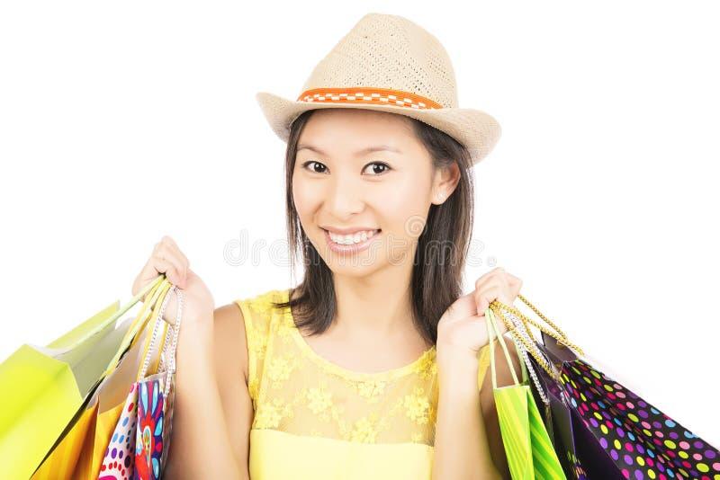 Shoppingflicka arkivfoton