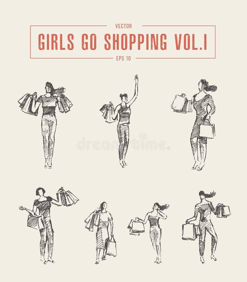 Shoppingflickan som går den påsar drog vektorn, skissar stock illustrationer
