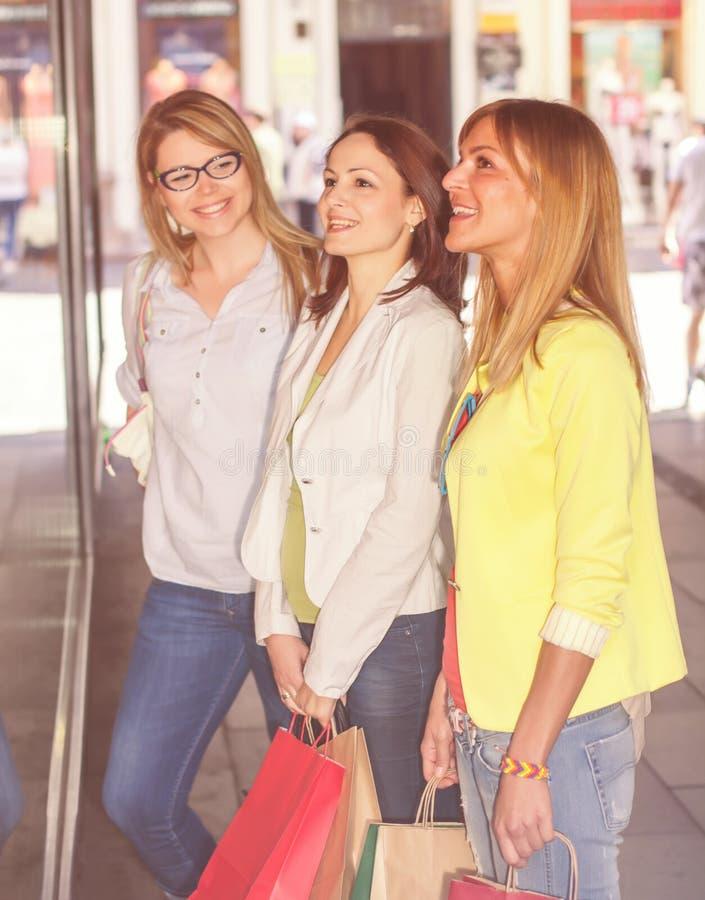 Shoppingflickvänner royaltyfri bild