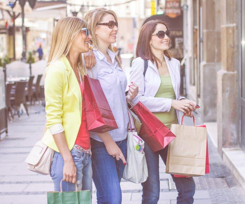 Shoppingflickvänner royaltyfri foto