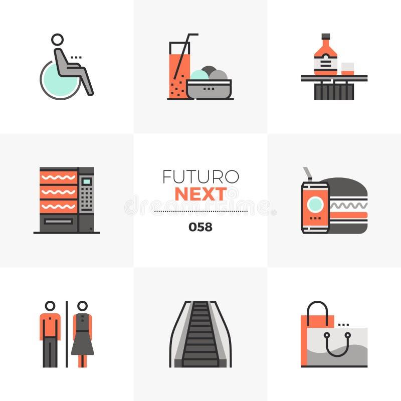 ShoppingfritidFuturo nästa symboler royaltyfri illustrationer