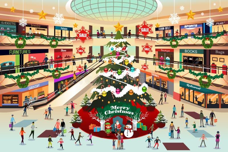 Shoppinggalleria under julillustration stock illustrationer