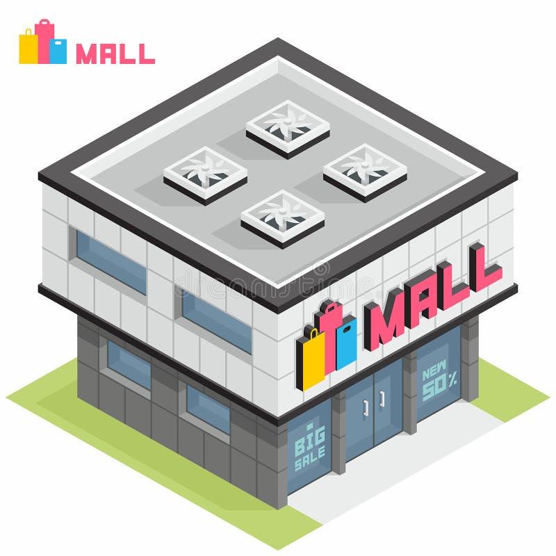 Shoppinggalleriabyggnad vektor illustrationer