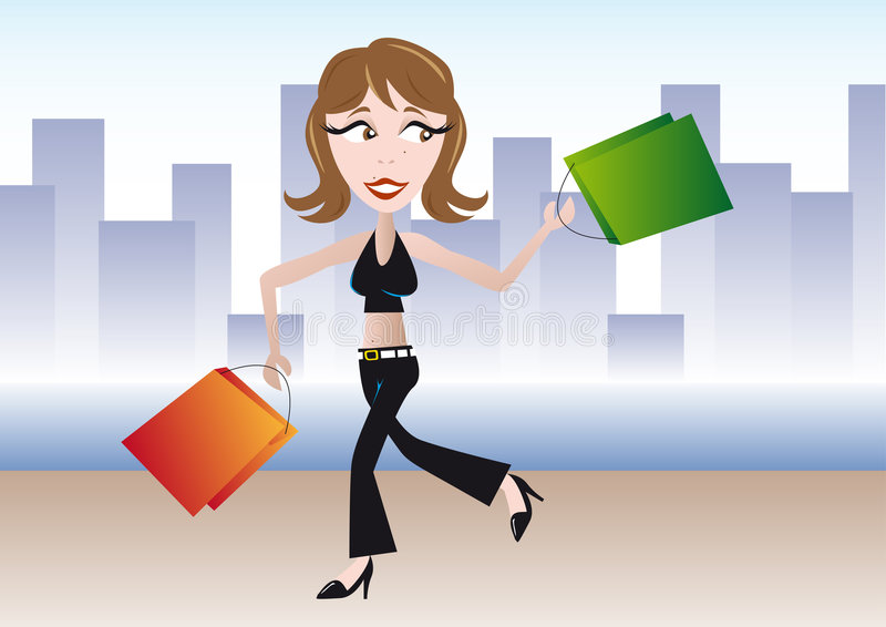 Shoppinggirl illustration de vecteur
