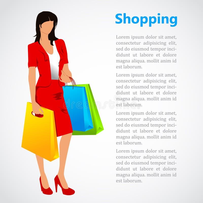 Shoppingillustration med en kvinna stock illustrationer