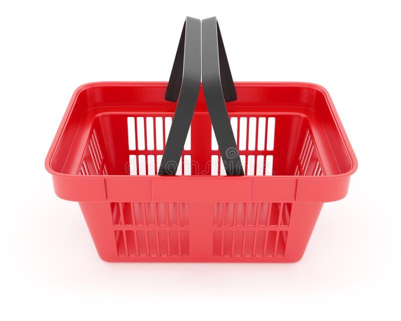 Shoppingkorg i tom röd ask för supermarket stock illustrationer