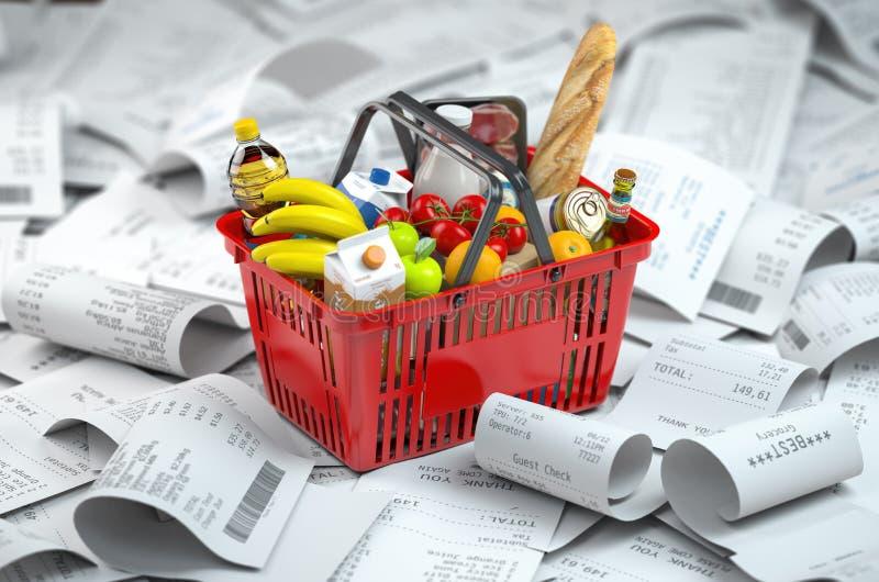 Shoppingkorg med foods på högen av kvittot Consumerism- och livsmedelsbutikkostnader budgeterar vektor illustrationer