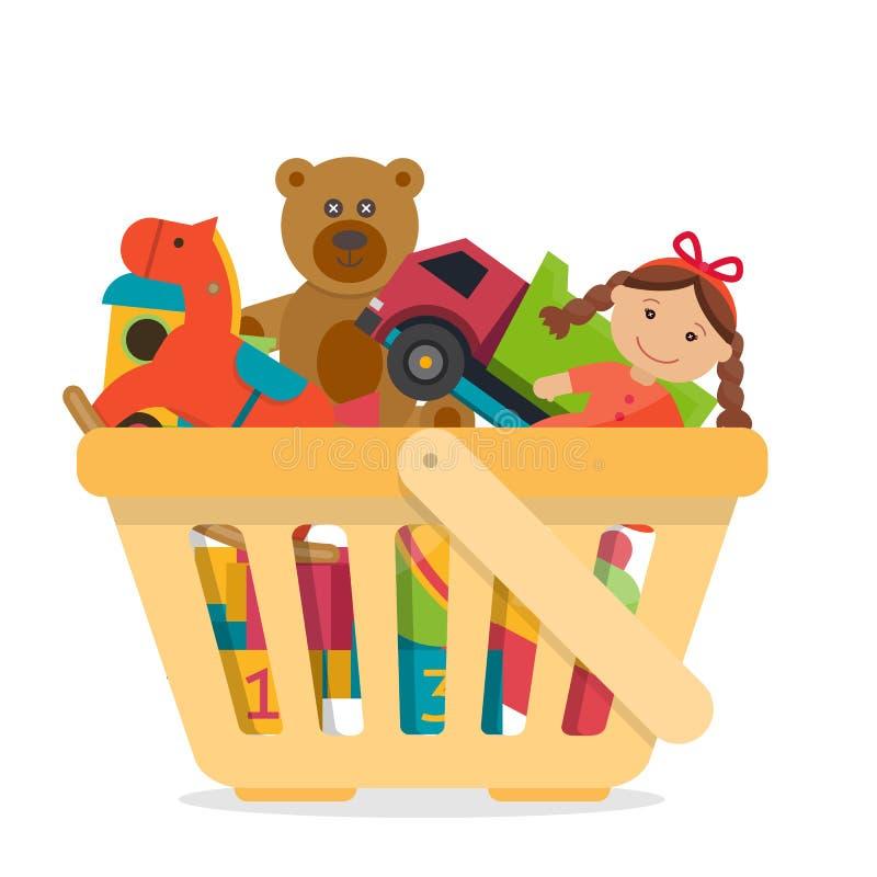 Shoppingkorg med leksaker stock illustrationer