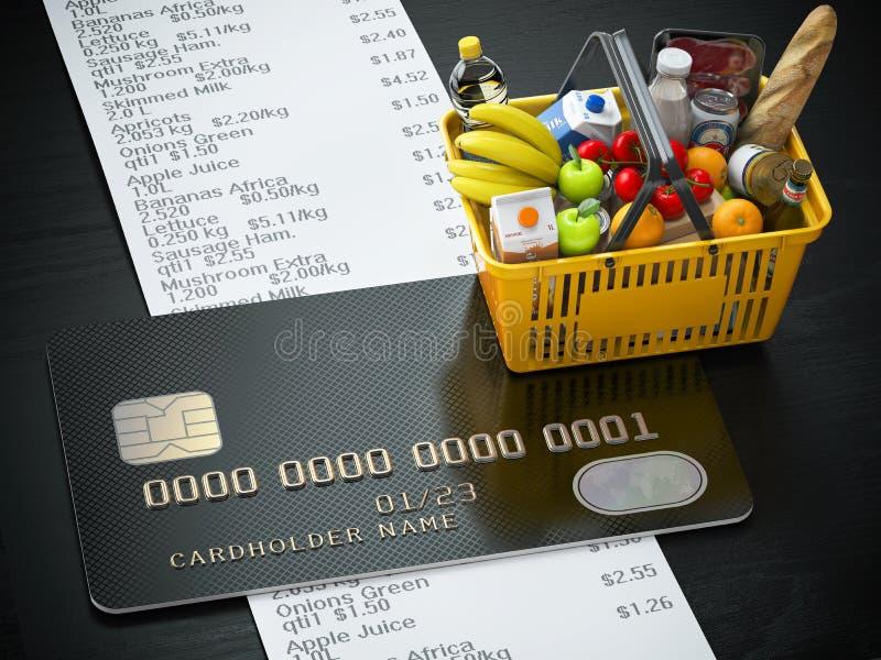 Shoppingkorg med mat och drink, cerditkort och kvittointelligens stock illustrationer