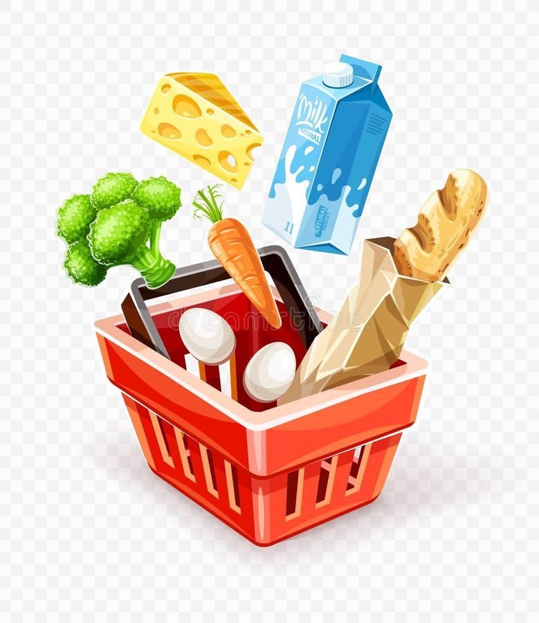 Shoppingkorg med organisk mat stock illustrationer