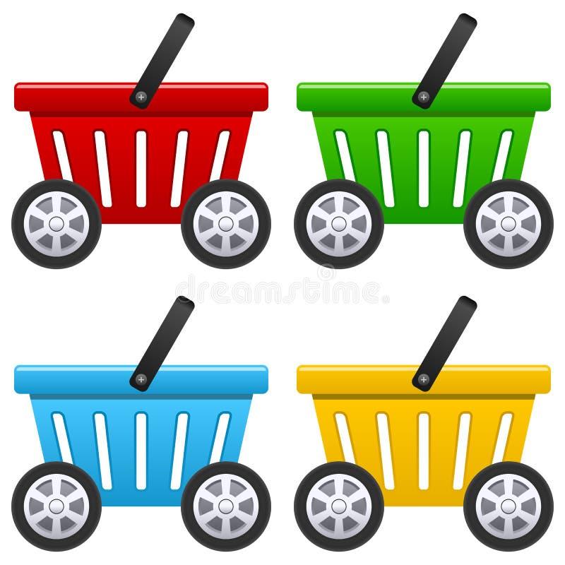 Shoppingkorg med stora hjul royaltyfri illustrationer