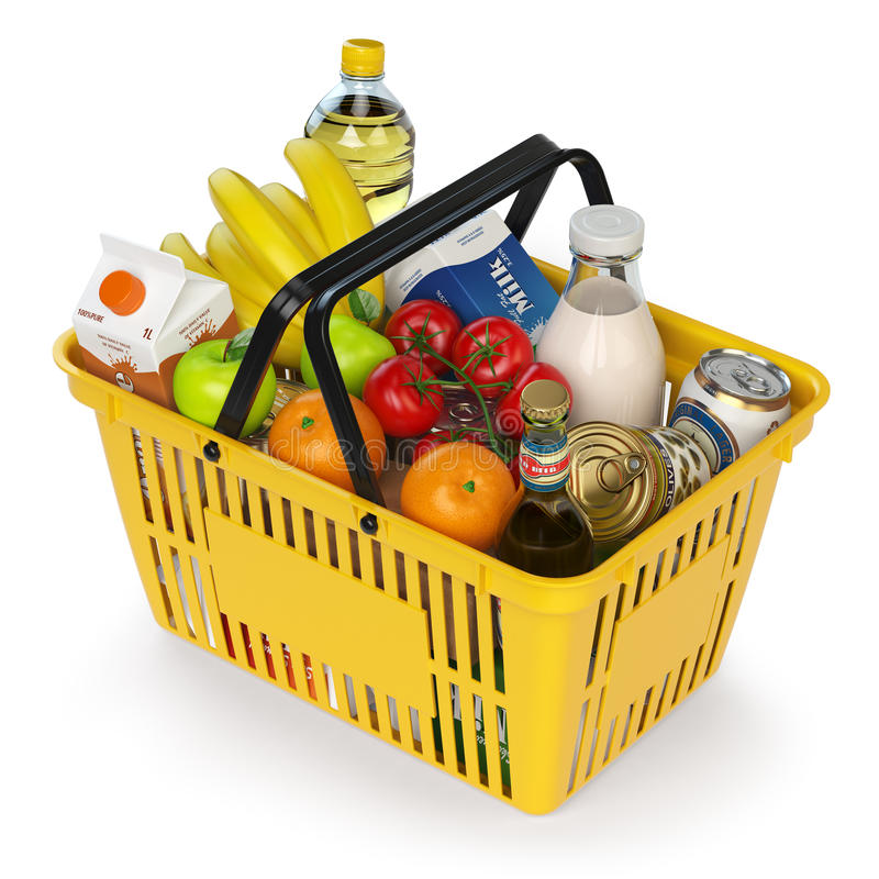 Shoppingkorg med variation av livsmedelsbutikprodukter som isoleras på whi vektor illustrationer